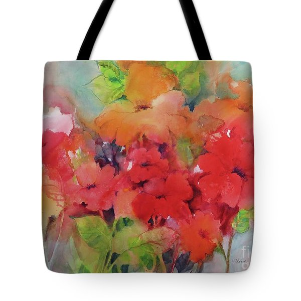 Tote Bag featuring the painting Flowers For Peggy by Michelle Abrams