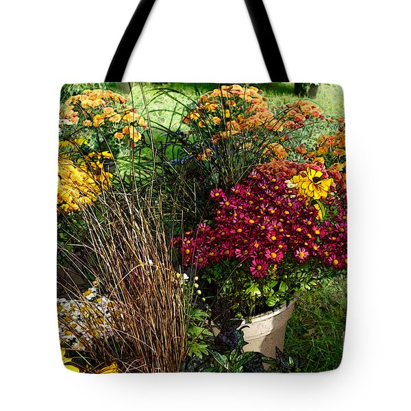Tote Bag featuring the digital art Flowers For Sale by David Blank