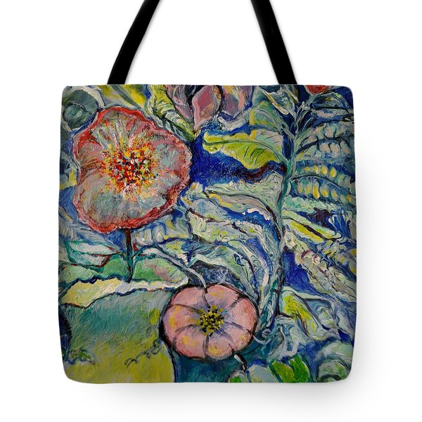 Tote Bag featuring the painting Flowers Gone Wild by Deborah Nell