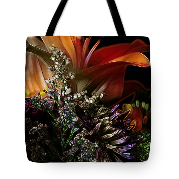 Tote Bag featuring the digital art Flowers 2 by Stuart Turnbull