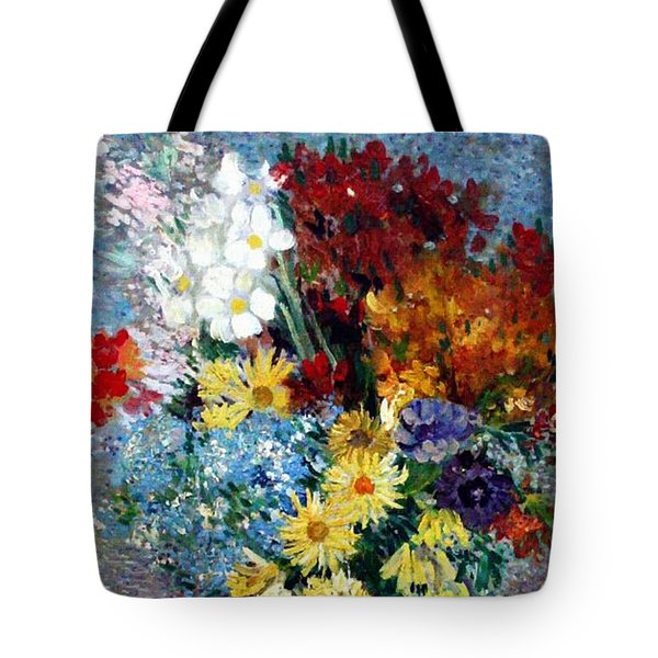 Tote Bag featuring the painting Flowers In A Blue Vase  by Van Gogh