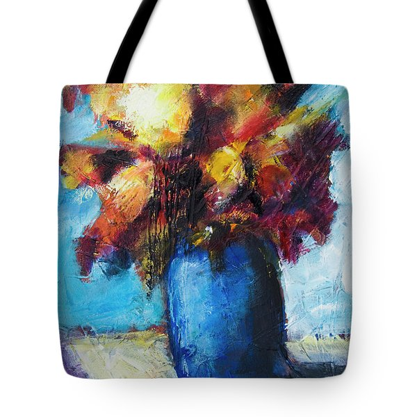 Tote Bag featuring the painting Flowers In A Blue Vase. by Yulia Kazansky