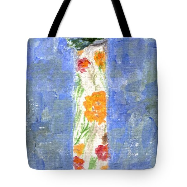 Tote Bag featuring the painting Flowers In A Bottle by Jamie Frier