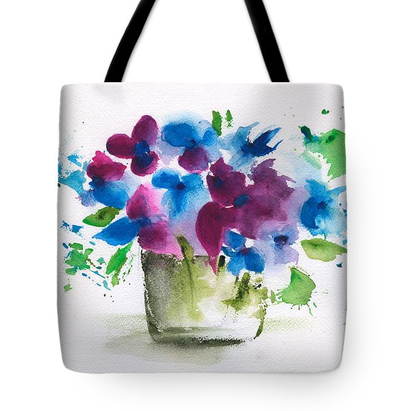Flowers In A Glass Vase Abstract Tote Bag by Frank Bright