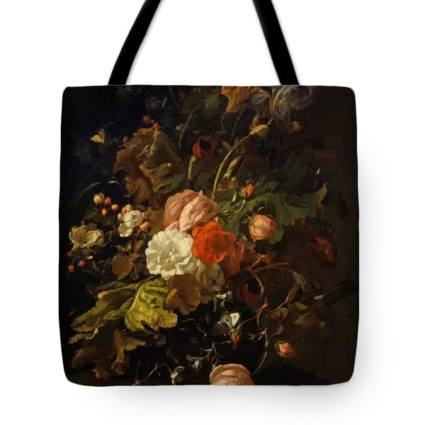 Flowers In A Glass Vase On A Stone Table 1701 Tote Bag