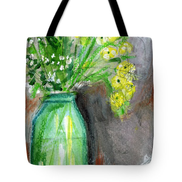 Flowers In A Green Jar- Art By Linda Woods Tote Bag