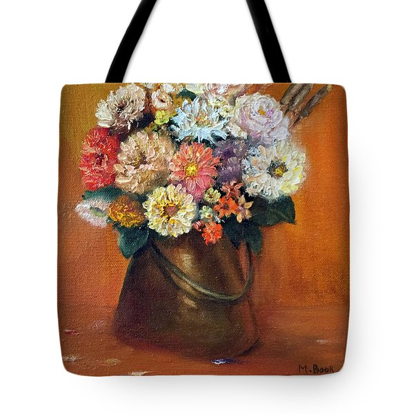Tote Bag featuring the painting Flowers In A Metal Vase  by Marlene Book
