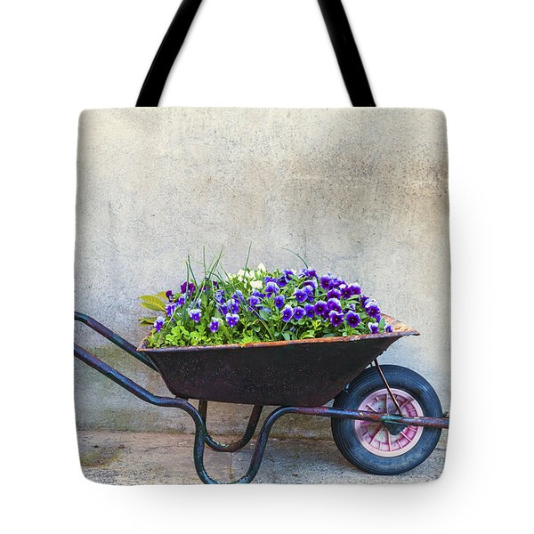 Flowers In A Wheelbarrow Tote Bag