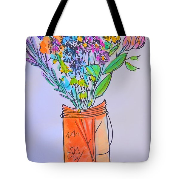 Flowers In An Orange Mason Jar Tote Bag