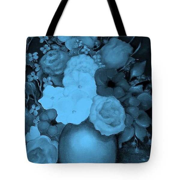 Flowers In Blue Tote Bag