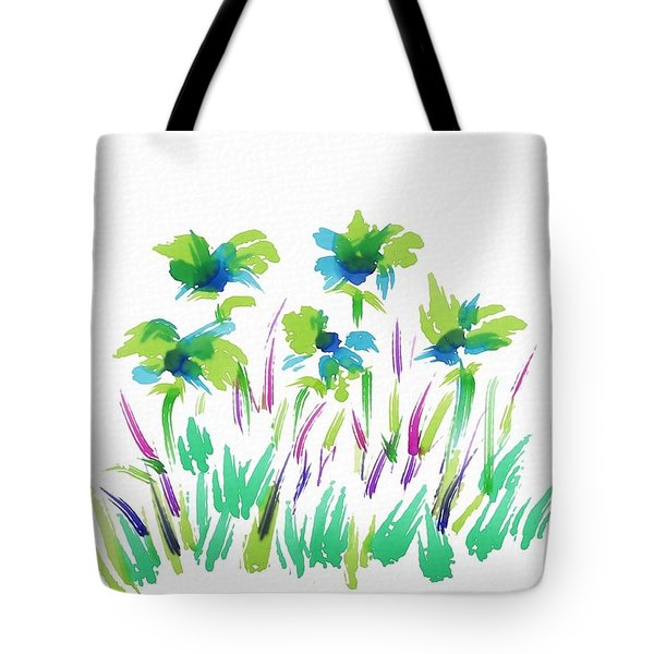 Flowers In Field Abstract Tote Bag