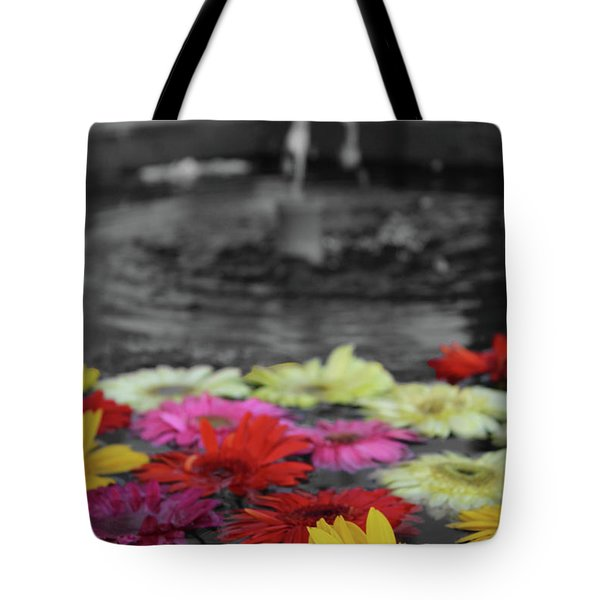 Flowers In Fountain Tote Bag