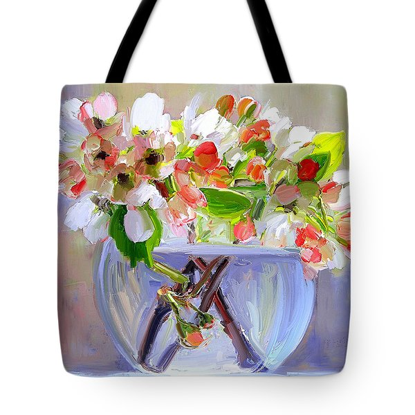 Flowers In Glass Bowl Tote Bag