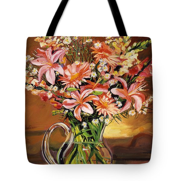 Flowers In Glass Tote Bag