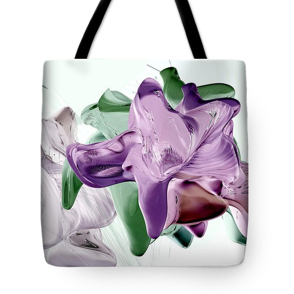Tote Bag featuring the digital art Flowers In Glass by Steven Lebron Langston