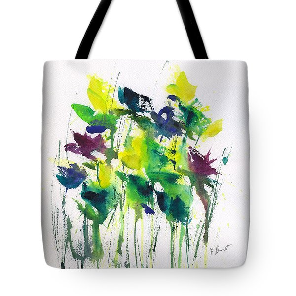 Flowers In Grass Abstract Tote Bag