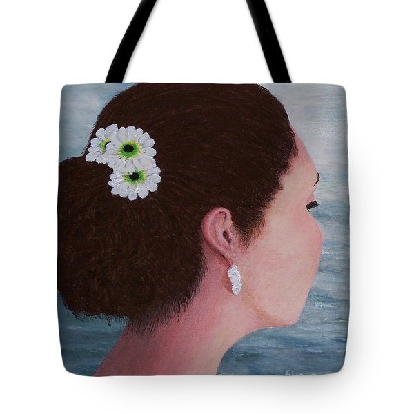 Tote Bag featuring the painting Flowers In Her Hair by Judy Kirouac