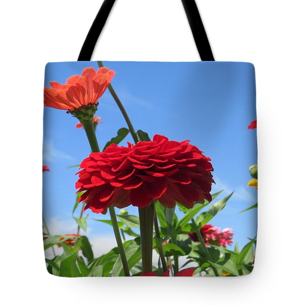 Flowers In The Blue Tote Bag