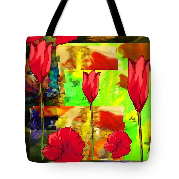Tote Bag featuring the digital art Flowers In The Mist by Gayle Price Thomas