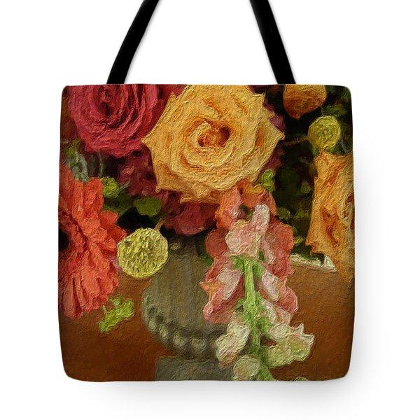 Flowers In Vase Tote Bag by Joan Reese