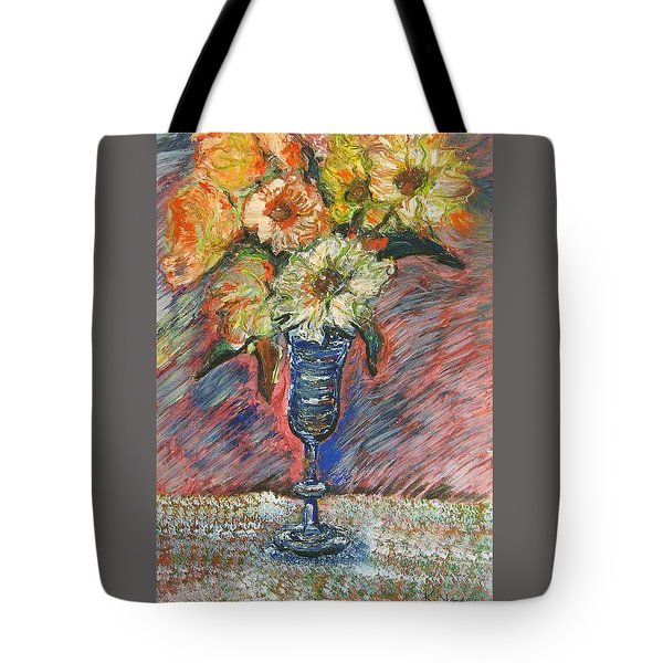 Flowers In Wine Glass Tote Bag