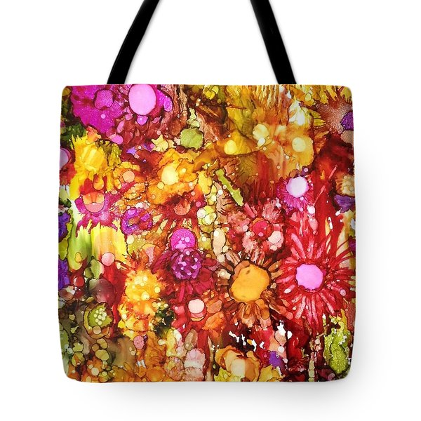 Flowers In Yellow And Pink Tote Bag by Suzanne Canner