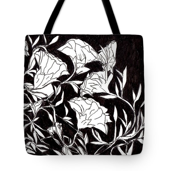 Tote Bag featuring the drawing Flowers by Lou Belcher