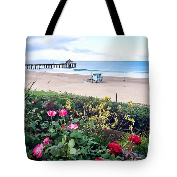 Tote Bag featuring the photograph Flowers Of Manhattan Beach by Art Block Collections
