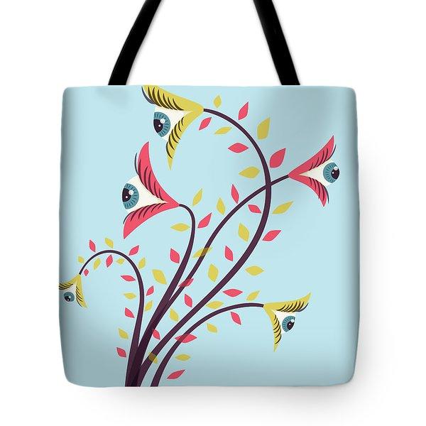 Flowers Of Watching Eyes Tote Bag
