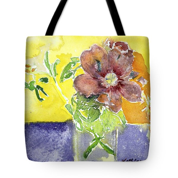 Flowers On A Blue Table Tote Bag