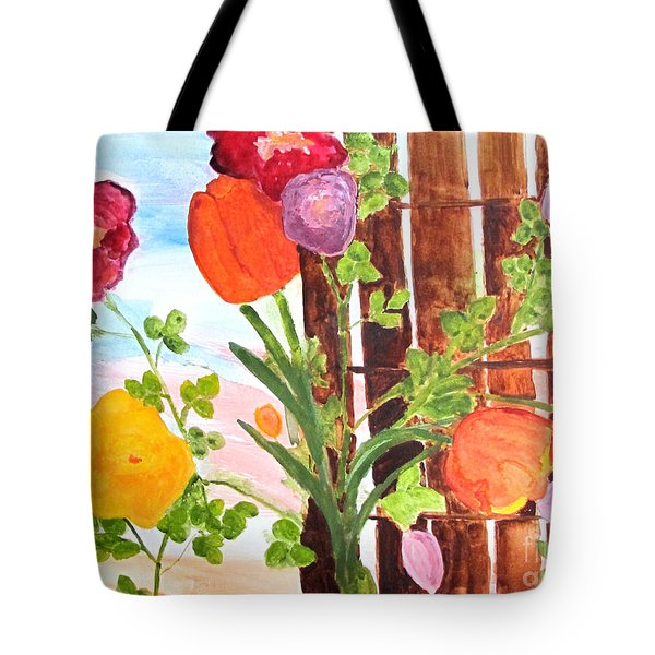 Tote Bag featuring the painting Flowers On A Fence by Sandy McIntire