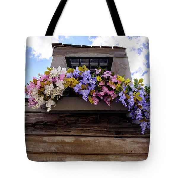 Flowers On A Rooftop Balcony In Saint Augustine Florida Tote Bag