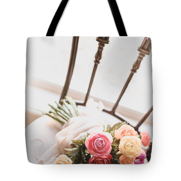 Flowers On Chair Tote Bag