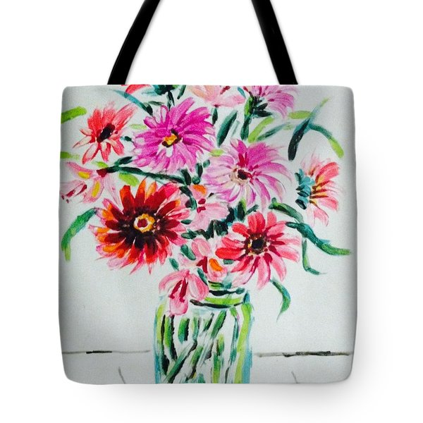 Flowers On Clear Vase Tote Bag