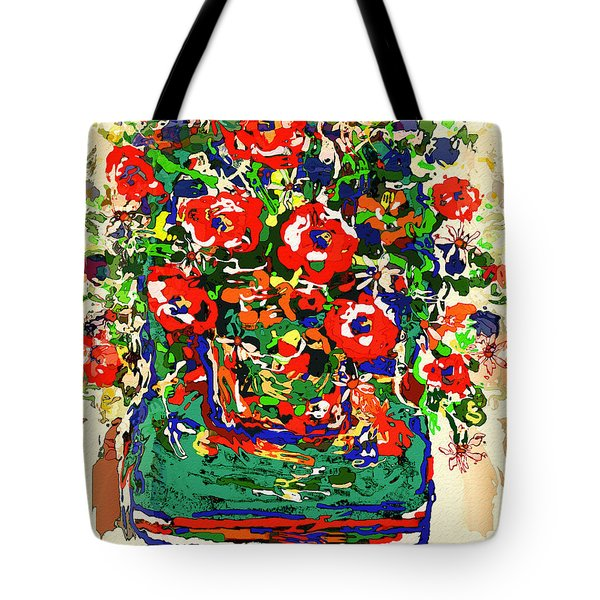 Flowers On Green Chair Tote Bag by Natalie Holland