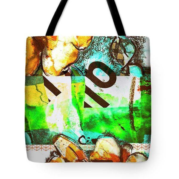 Tote Bag featuring the mixed media Flowers On Paper,  Collage And Acrylic by Ariadna De Raadt