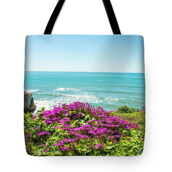 Flowers On The Cliff Tote Bag