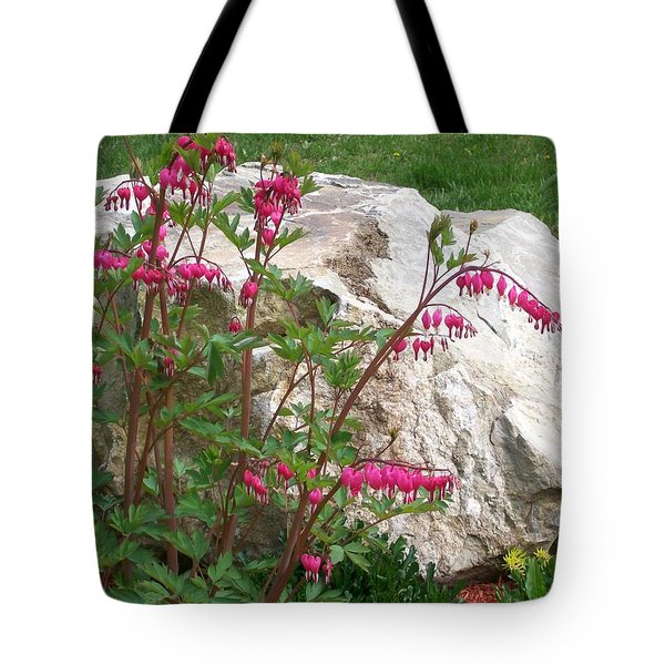 Tote Bag featuring the digital art Flowers On The Rocks by Barbara S Nickerson