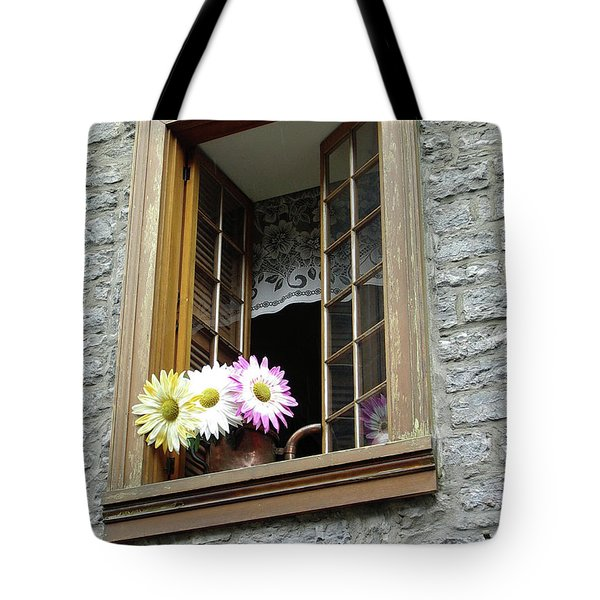 Tote Bag featuring the photograph Flowers On The Sill by John Schneider