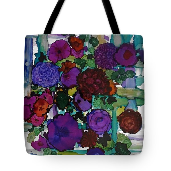 Flowers On Trellis Tote Bag by Alika Kumar