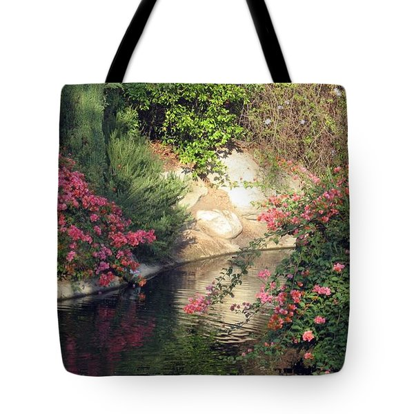 Tote Bag featuring the photograph Flowers Over Pond by Amanda Eberly-Kudamik