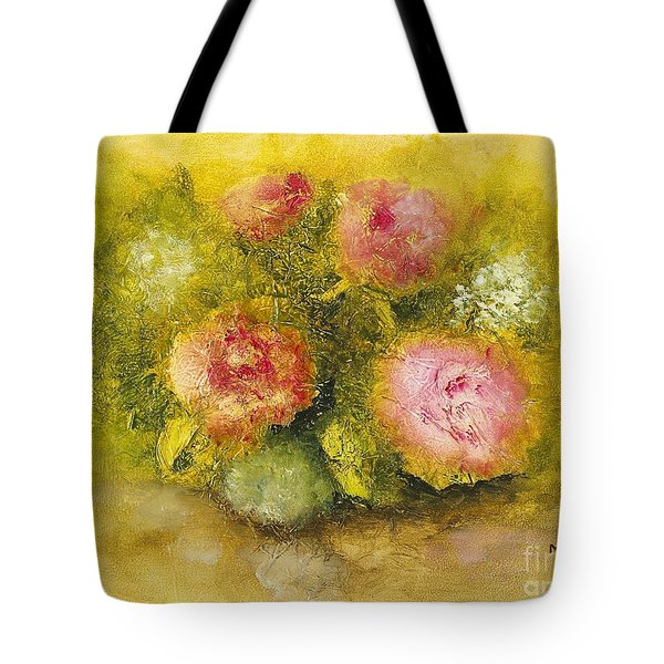 Flowers Pink Tote Bag by Marlene Book