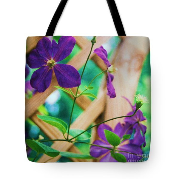 Tote Bag featuring the painting Flowers Purple by Eric  Schiabor