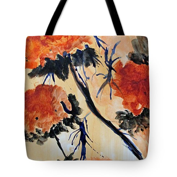 Tote Bag featuring the painting Flowers by Sandy McIntire