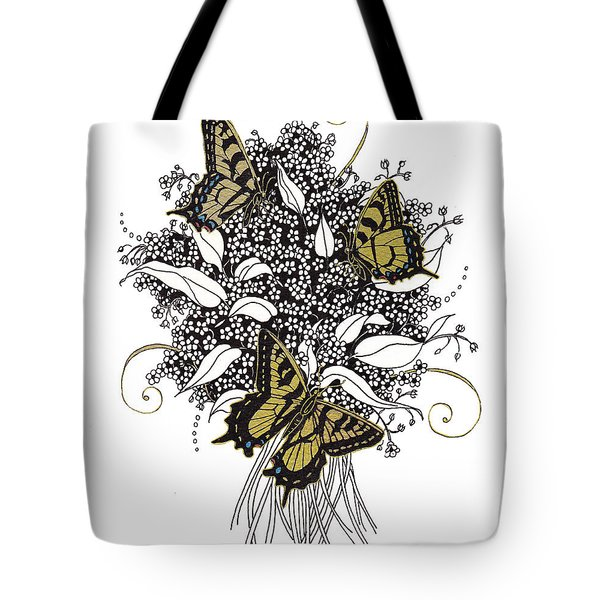 Tote Bag featuring the drawing Flowers That Flutter by Stanza Widen