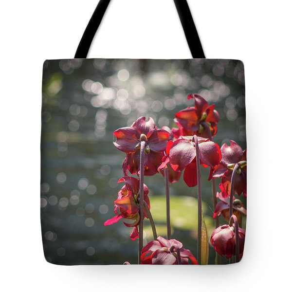 Tote Bag featuring the photograph Flowers Watching Water by Lynne Jenkins