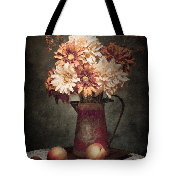 Flowers With Peaches Still Life Tote Bag