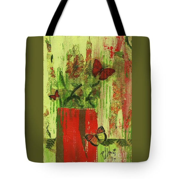 Tote Bag featuring the mixed media Flowers,butteriflies, And Vase by P J Lewis