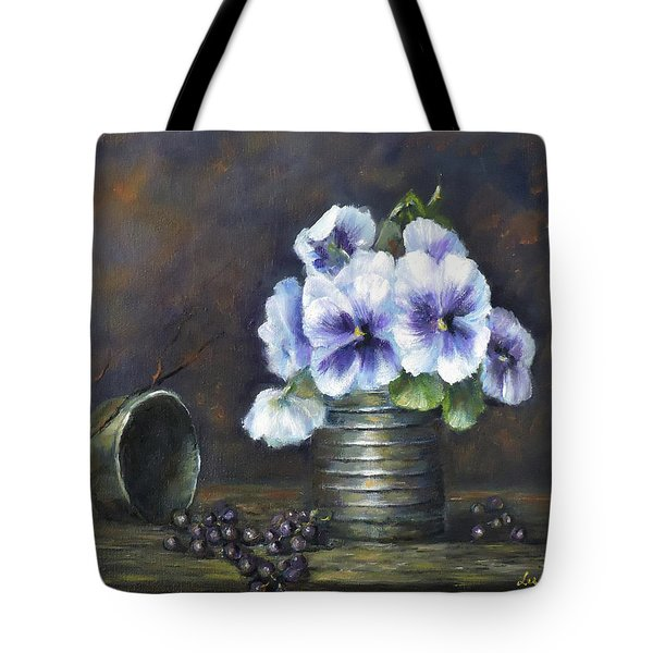Tote Bag featuring the painting Flowers,pansies Still Life by Luczay