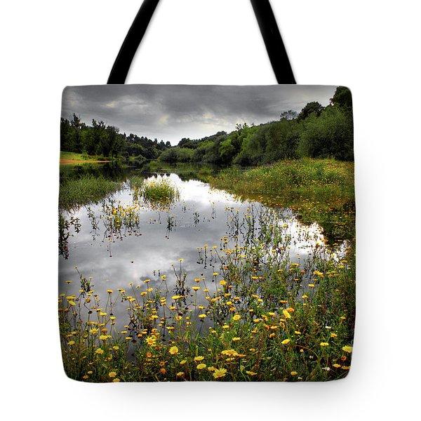 Flowery Lake Tote Bag by Carlos Caetano